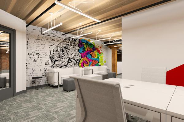 Office with graphic wall