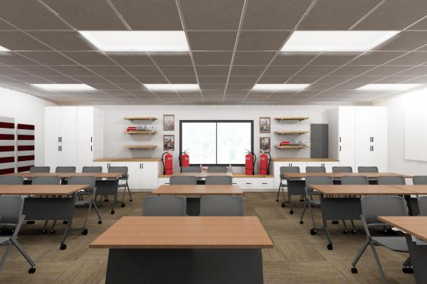 Training room with tables