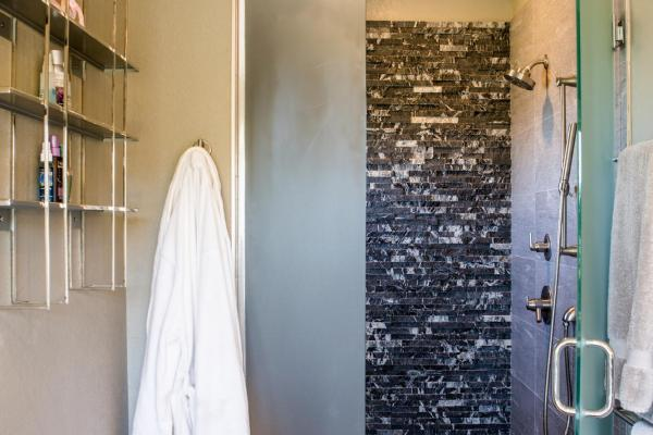 Stacked stone shower wall