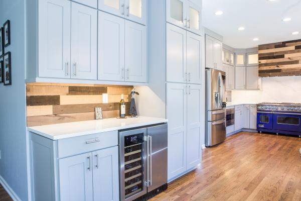 Gray shaker cabinets and quartz countertops