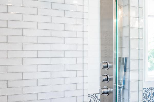 Shower panel system and subway tile