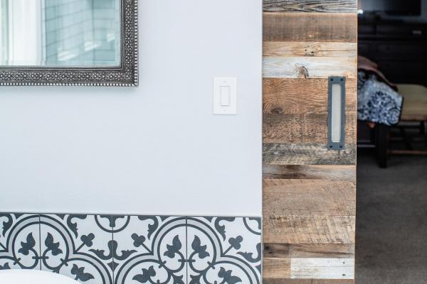 Barn door and graphic tile in Littleton Colorado
