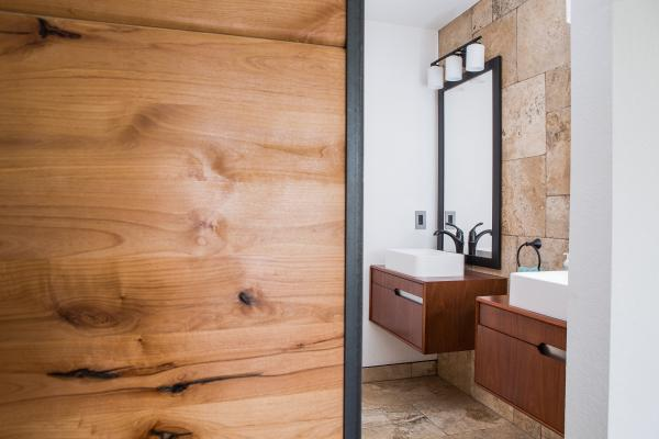 Traditional bathroom with barn door
