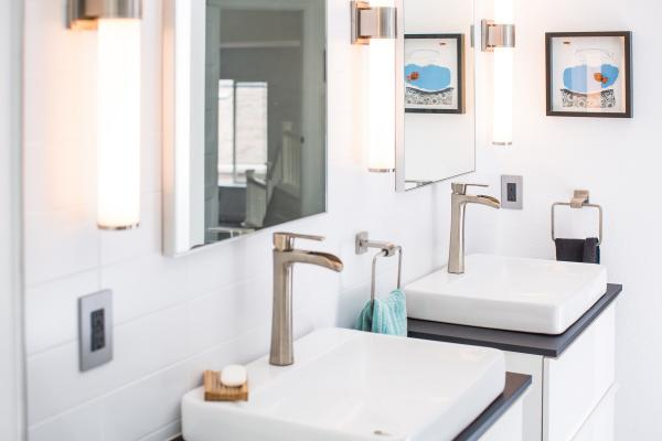 Double modern vanities in contemporary bathroom