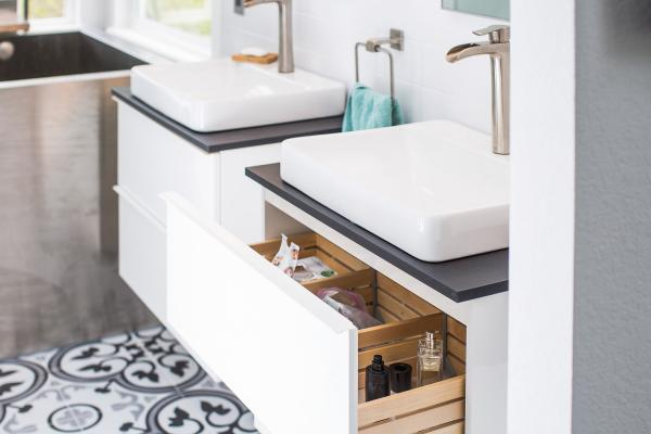 White vanity drawer in modern bathroom