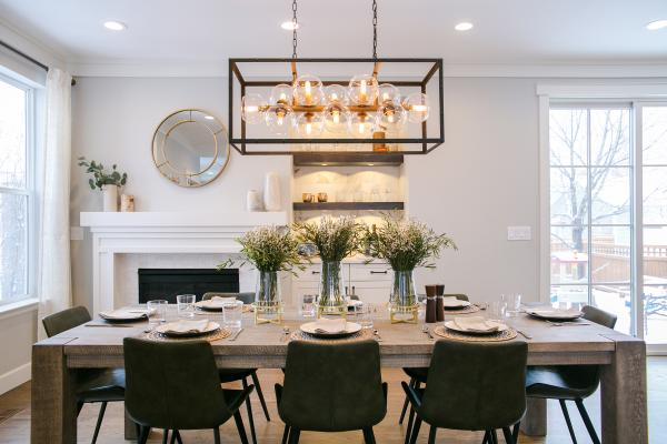 Dining room with large dining pendant light