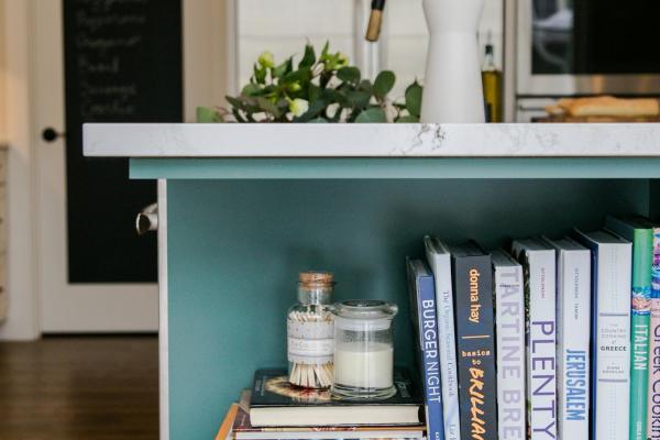 Custom bookshelf in island