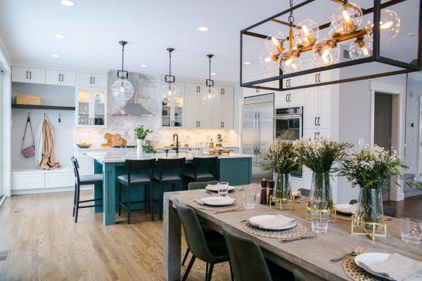 Modern kitchen with green island