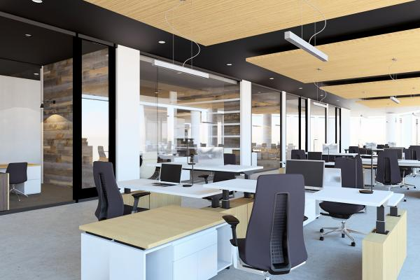 Office with desks and chairs