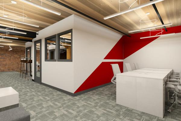 Office with red graphic on wall