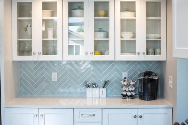 White cabinets with glass doors