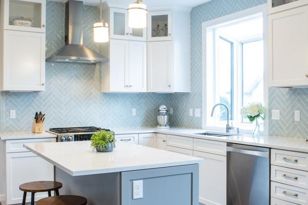 White and gray cabinets with pendant lights