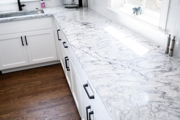 Marble look quartz countertop