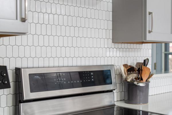 Detail of backsplash tile behind range