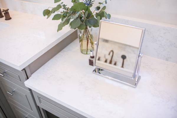 Marble look white countertop