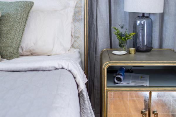 Glam nightstand and bed