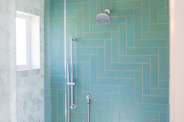 Green shower wall tile