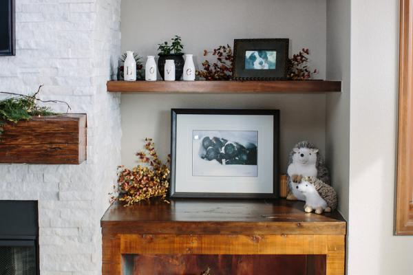Rustic fireplace wood bin