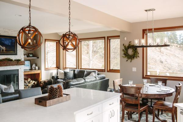 Rustic kitchen with pendant lights
