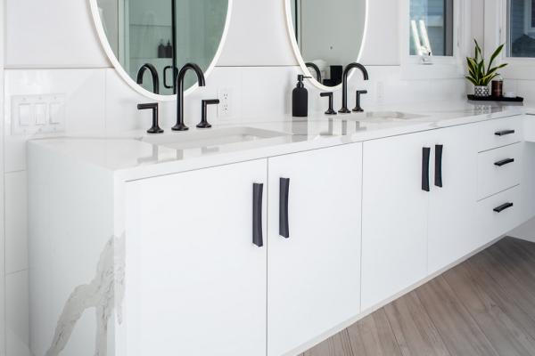 Floating white vanity