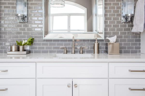 Detail of white cabinet vanity area