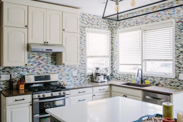 Cream cabinets and gray island