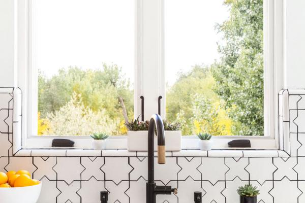 detail of sink and faucet under window