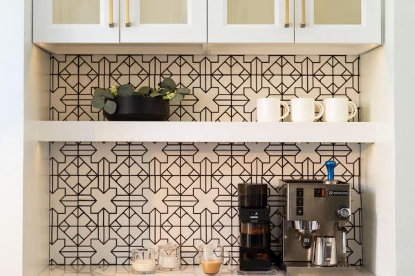 detail of wall shelves and cabinet with backsplash