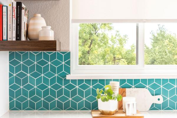 kitchen view with teal backsplash