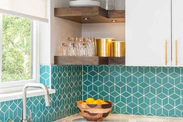 kitchen corner with teal backsplash