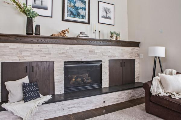 living room fireplace and hearth