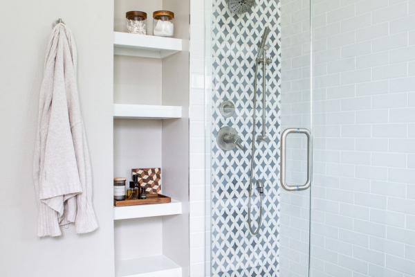 master bathroom shower with bench