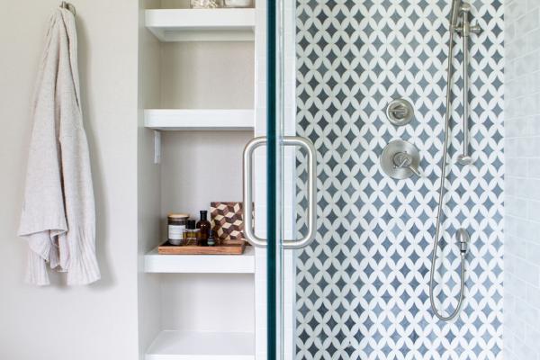 master bathroom shower with storage niche