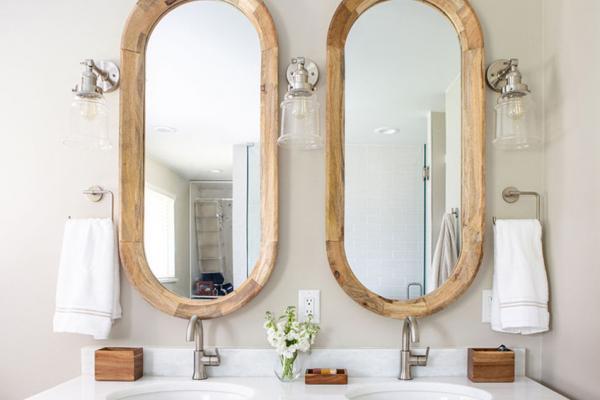 master bathroom vanity with mirrors