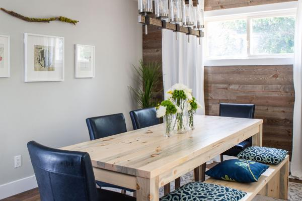 dining room with dining table and benches