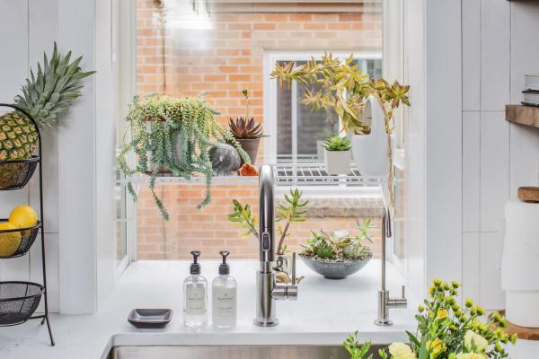detail view of garden window over sink