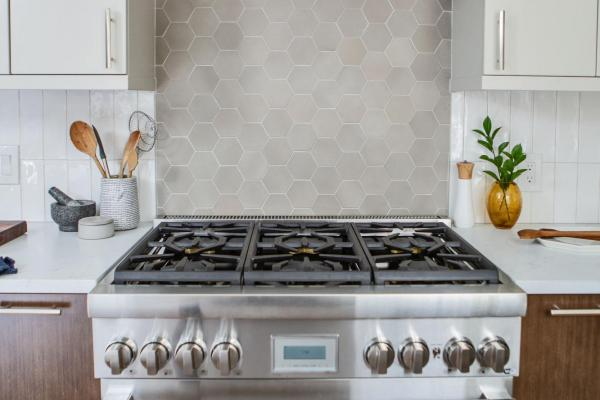 range, range hood and backsplash tile
