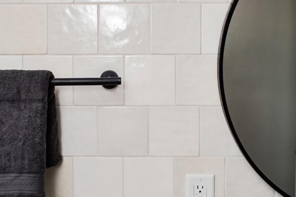 guest bathroom vanity mirror and accessories