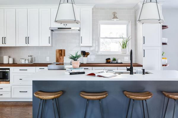 view of kitchen with blue island