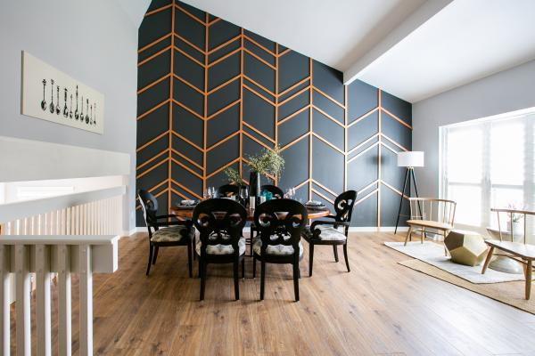 dining room design with chevron wall