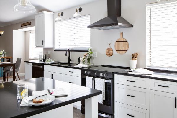 view of kitchen facing range