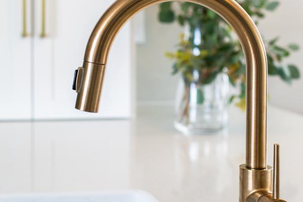 brass faucet detail shot