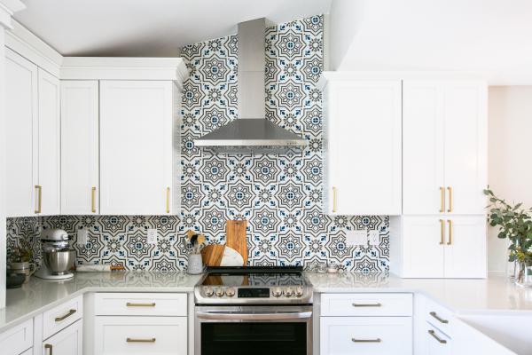 view of range with decorative tile backsplash
