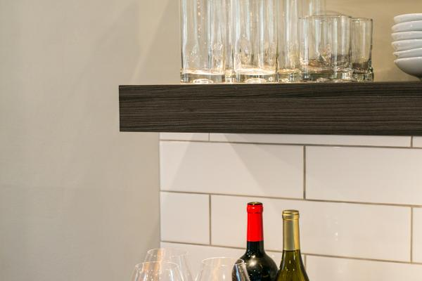 floating shelves with accent lighting