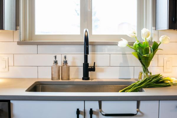 undermount sink and faucet detail