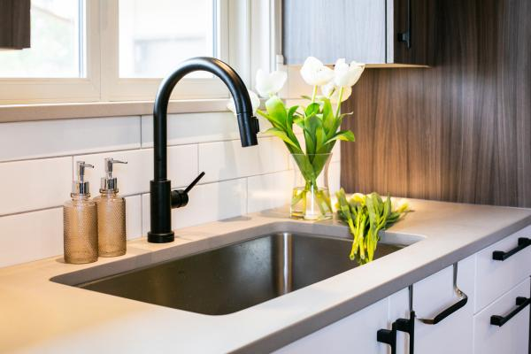 sink and faucet detail with concrete look countertops