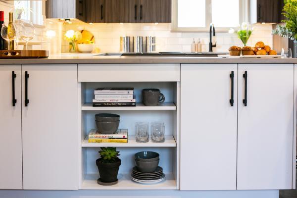 integrated bookshelf storage in cabinet