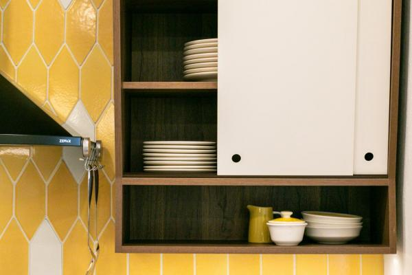 detail of wall cabinet and backsplash tile
