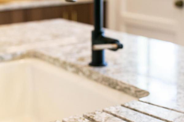 detail of integrated drain board in countertop