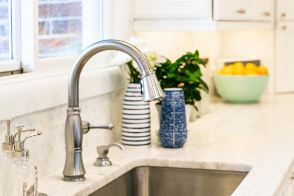 detail view of undermount sink and faucet